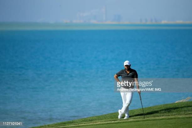 Alexander Levy of France stands on the 16th green during Day four of the Saudi International at the Royal Greens Golf Country Club on February 03...