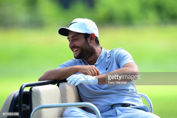 Alexander Levy of France waits to play his first shot on the 4th tee during the Porsche European Open Pro Am at Green Eagle Golf Course on July 26...