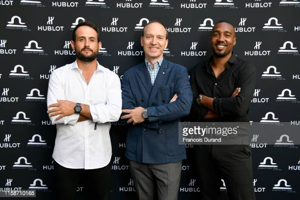 Alexander Levy Philippe Tardivel and Abdoulaye Fadiga attend the launch of Hublot x Champion Spirit on June 27 2019 in Paris France