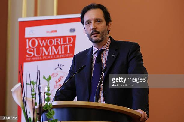 Alexander Liebeskind speaks on the second day of the 10th World Summit of Nobel Peace Laureates at Berlin town hall on November 11 2009 in Berlin...