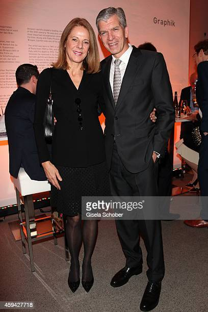 Alexander Liegl and his wife Isabel during the PIN Party 'Lets Party 4 Art' at Neue Pinakothek on November 22 2014 in Munich Germany