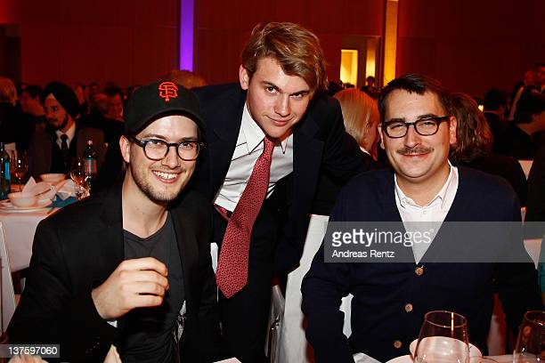 Alexander Ljung Jacob Burda and Felix Petersen attend the Chairmen Speaker Dinner during the DLD Conference 2012 at the Jewish Community Centre on...