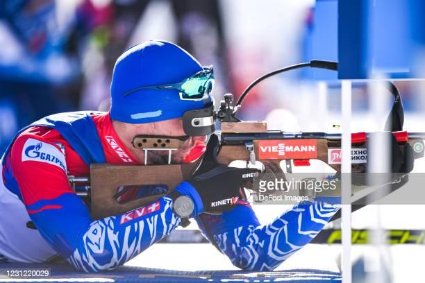 Alexander Loginov of Russia at the shooting range during the Men 20 km Individual Competition at the IBU World Championships Biathlon Pokljuka at on...