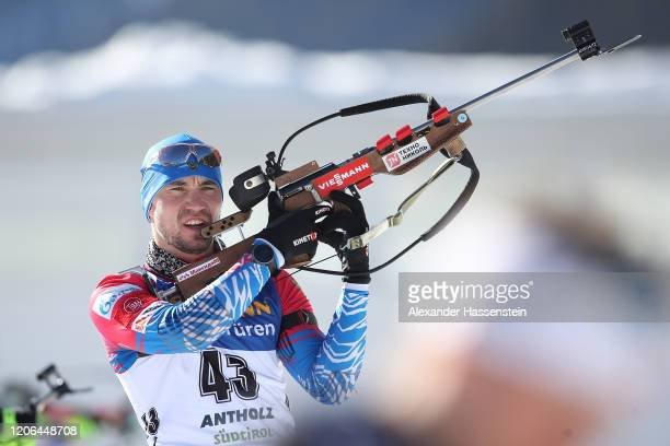 Alexander Loginov of Russia at the zeoring for the Men 10 km Sprint Competition at the IBU World Championships Biathlon Antholz-Anterselva on...
