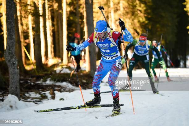 Alexander Loginov of Russia competes in the IBU Biathlon World Cup Men's 10 km Sprint competition in Pokljuka on December 7 2018
