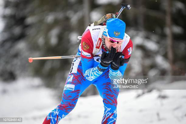 Alexander Loginov of Russia competes in the IBU Biathlon World Cup Men's 125 km Pursuit competition in Pokljuka on December 9 2018
