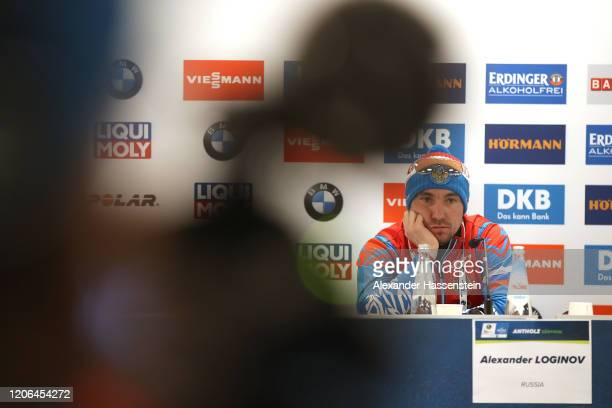 Alexander Loginov of Russia looks on during a press conference after the Men 10 km Sprint Competition at the IBU World Championships Biathlon...
