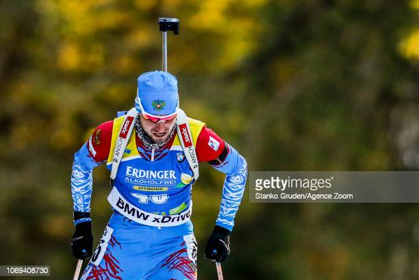 Alexander Loginov of Russia takes 3rd place during the IBU Biathlon World Cup Men's Sprint on December 7 2018 in Pokljuka Slovenia
