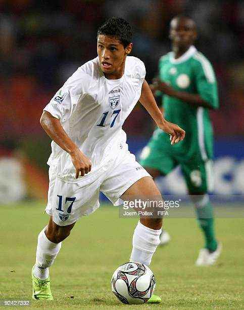 Alexander Lopez of Honduras plays the ball during the FIFA U17 World Cup Group A match between Nigeria and Honduras at the Abuja National Stadium on...