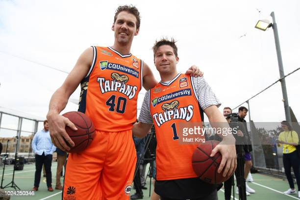 Alexander Loughton of the Cairns Taipans poses with AFL player Toby Greene of the GWS Giants during the NBL First Ever Apparel Uniform Launch athe...