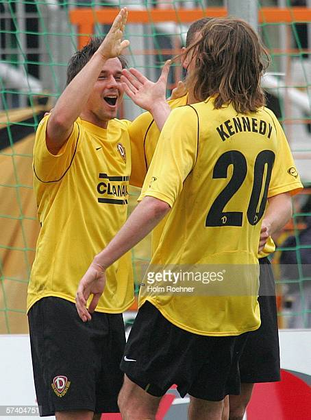 Alexander Ludwig and Joshua Kennedy of Dresden celebrate the second goal during the Second Bundesliga match between Dynamo Dresden and 1 FC...