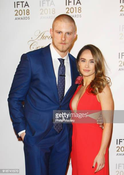 Alexander Ludwig and Kristy Dawn Dinsmore attend the 'IFTA Film Drama Awards' at Mansion House on February 15 2018 in Dublin Ireland