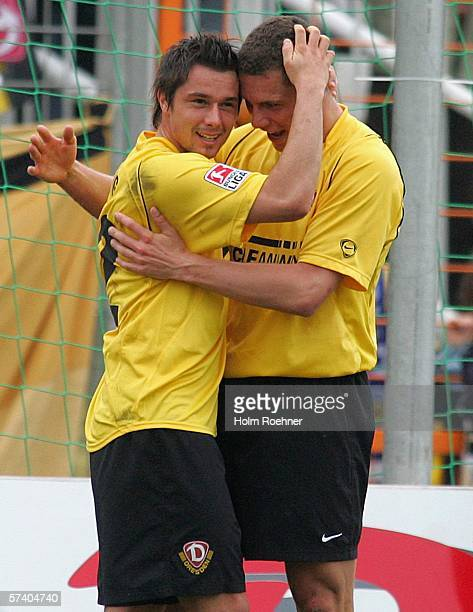 Alexander Ludwig and Thomas Broeker of Dresden celebrate the second goal during the Second Bundesliga match between Dynamo Dresden and 1 FC...