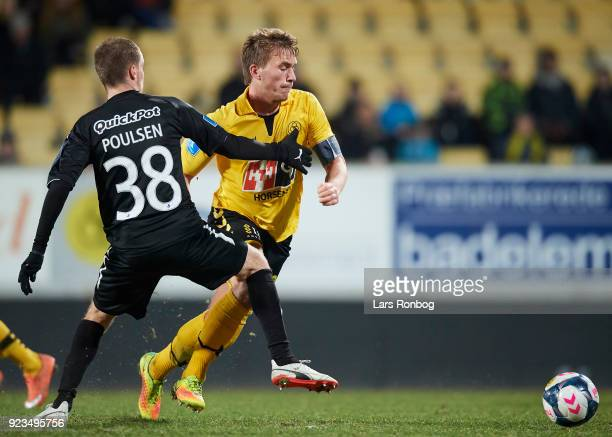Alexander Ludwig of AC Horsens and Nicolai Poulsen of Randers FC compete for the ball during the Danish Alka Superliga match between AC Horsens and...