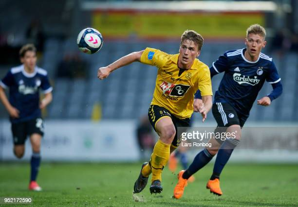 Alexander Ludwig of AC Horsens and Viktor Fischer of FC Copenhagen compete for the ball during the Danish Alka Superliga match between AC Horsens and...