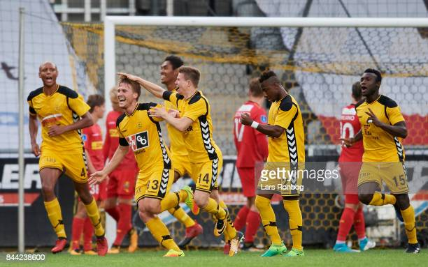 Alexander Ludwig of AC Horsens celebrates after scoring their first goal during the Danish Alka Superliga match between AC Horsens and FC...