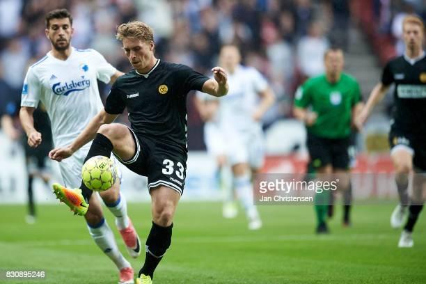 Alexander Ludwig of AC Horsens controls the ball during the Danish Alka Superliga match between FC Copenhagen and AC Horsens at Telia Parken Stadium...