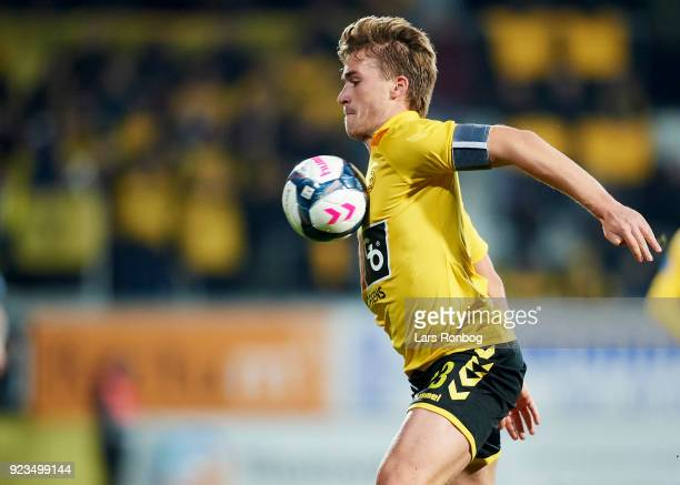 Alexander Ludwig of AC Horsens controls the ball during the Danish Alka Superliga match between AC Horsens and Randers FC at CASA Arena Horsens on...