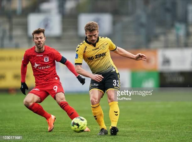 Alexander Ludwig of AC Horsens during the Superliga match between AC Horsens versus Aarhus GF at Casa Arena Horsens , Horsens, Denmark on December...
