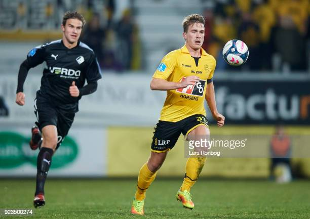 Alexander Ludwig of AC Horsens in action during the Danish Alka Superliga match between AC Horsens and Randers FC at CASA Arena Horsens on February...