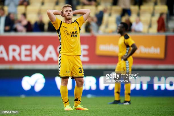 Alexander Ludwig of AC Horsens looks dejected after the Danish Alka Superliga match between AC Horsens and AaB Aalborg at Casa Arena Horsens on...