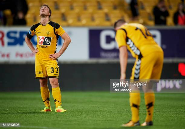 Alexander Ludwig of AC Horsens looks dejected after the Danish Alka Superliga match between AC Horsens and FC Nordsjalland at CASA Arena Horsens on...