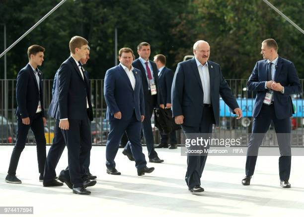 Alexander Lukashenko President of Belarus arrives during the 2018 FIFA World Cup Russia group A match between Russia and Saudi Arabia at Luzhniki...