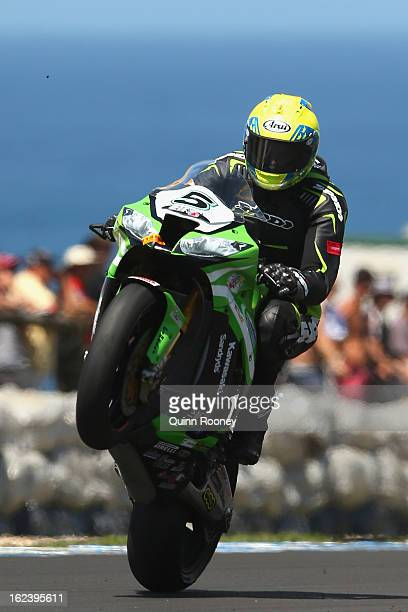 Alexander Lundh of Sweden riding the Pedercini Team Kawasaki during qualifying for the World Superbikes at Phillip Island Grand Prix Circuit on...