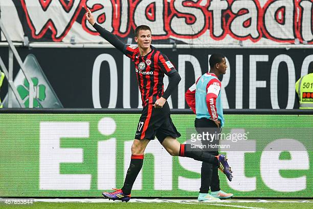 Alexander Madlung of Frankfurt celebrates his team's fourth goal during the Bundesliga match between Eintracht Frankfurt and VfB Stuttgart at...