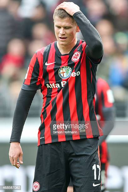 Alexander Madlung of Frankfurt reacts during the Bundesliga match between Eintracht Frankfurt and Hannover 96 at Commerzbank-Arena on April 4, 2015...