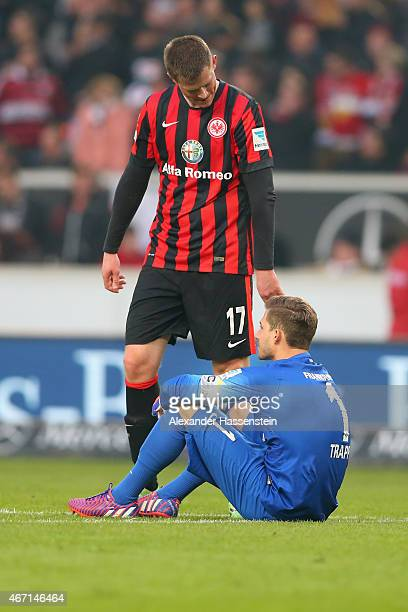 Alexander Madlung of Frankfurt reacts with his keeper Kevin Trapp after the Bundesliga match between VfB Stuttgart and Eintracht Frankfurt at...