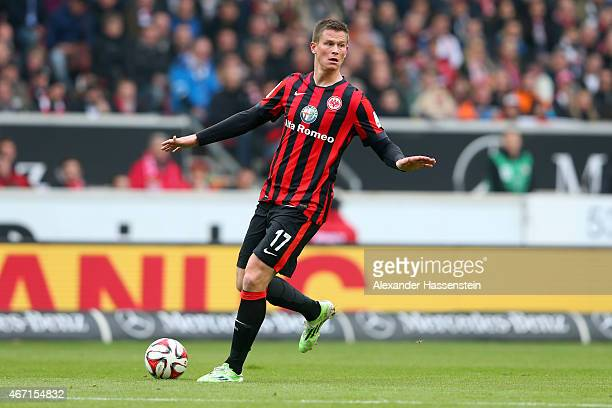 Alexander Madlung of Frankfurt runs witrh the ball during the Bundesliga match between VfB Stuttgart and Eintracht Frankfurt at Mercedes-Benz Arena...
