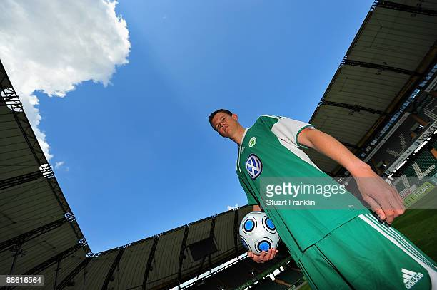 Alexander Madlung of VfL Wolfsburg models the new team kit at the Volkswagan Arena on June 22, 2009 in Wolfsburg, Germany.