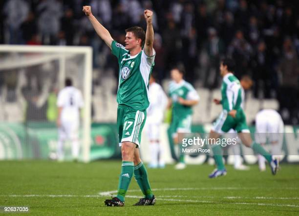 Alexander Madlung of Wolfsburg celebrates after his team's first goal during the UEFA Champions League Group B match between Besiktas and VfL...