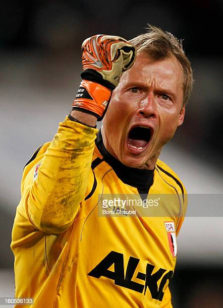 Alexander Manninger goalkeeper of Augsburg celebrates after the Bundesliga match between VFL Wolfsburg and FC Augsburg at Volkswagen Arena on...