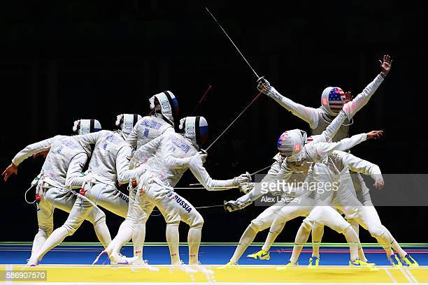 Alexander Massialas of the United States defeats Artur Akhmatkhuzin of Russia during Men's Individual Foil Round of 16 on Day 2 of the Rio 2016...