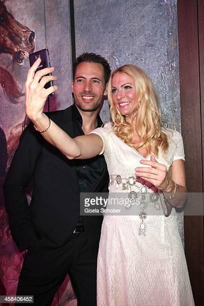 Alexander Mazza and Sonya Kraus doing a selfie during the CLOSER Magazin Hosts SMILE Award 2014 at Hotel Vier Jahreszeiten on November 4, 2014 in...