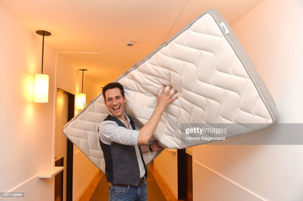 Alexander Mazza attends the celebration of the first Weltmatratzenwendetag ( World Mattress Flipping Day ) at Hotel Louis on April 17, 2018 in Munich, Germany.