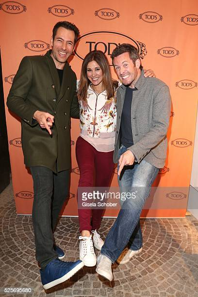 Alexander Mazza Karen Webb and Jan Hartmann during the TOD'S 'The art of leather' party on April 28 2016 in Munich Germany