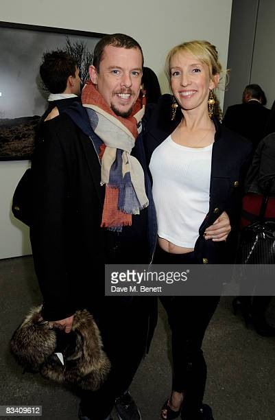 Alexander McQueen and Sam TaylorWood attend the private view of Sam Taylor Wood's new exhibition 'Yes I No' at the White Cube Gallery on October 23...