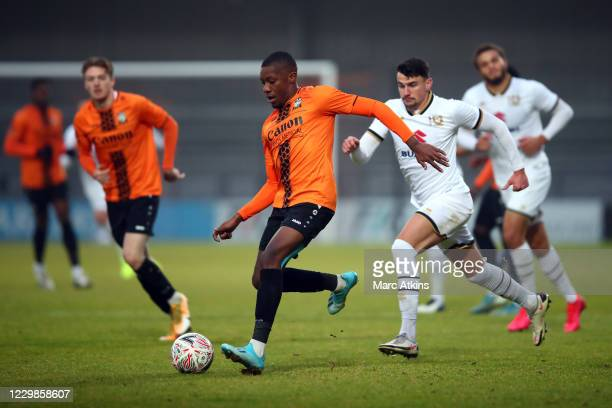 Alexander McQueen of Barnet during the Emirates FA Cup Second Round match between Barnet FC and Milton Keynes Dons at The Hive London on November 29,...