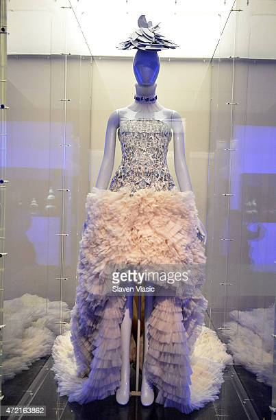Alexander McQueen Sarah Burton evening dress fall/winter 201112 on display at 'China Through the Looking Glass' press preview at the Temple of Dendur...