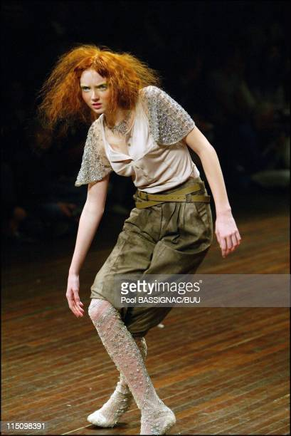 Alexander McQueen spring-summer 2004 ready-to-wear collection in Paris, France on October 11, 2003.
