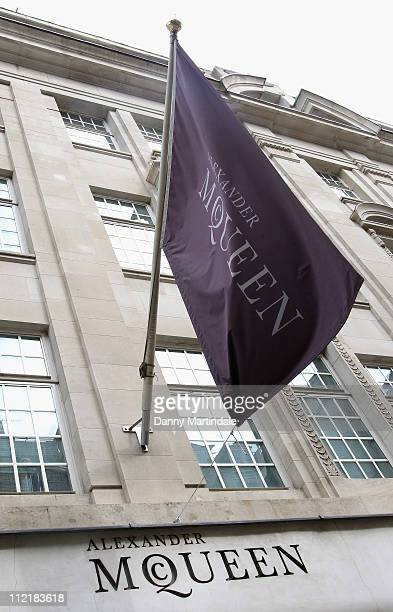 Alexander McQueen store sign and flag on Old Bond Street on April 14, 2011 in London, England. Alexander McQueen's creative director Sarah Burton is...