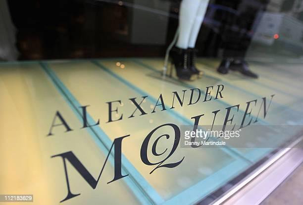 Alexander McQueen store sign on Old Bond Street on April 14, 2011 in London, England. Alexander McQueen's creative director Sarah Burton is rumored...