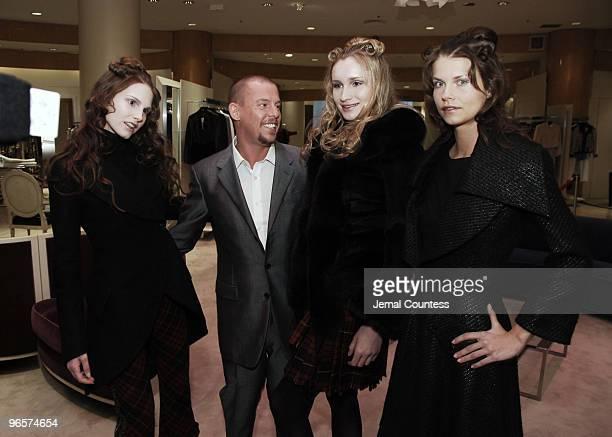 Alexander McQueen with Models wearing Alexander McQueen Spring 2006 Fashions