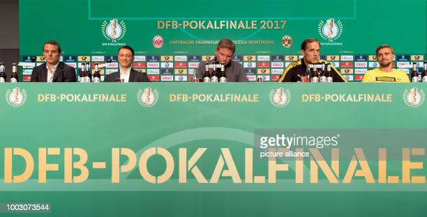 Alexander Meier and headcoach Niko Kovac of German Bundesliga soccer club Eintracht Frankfurt Jens Grittner speaker of the DFB as well as Head coach...