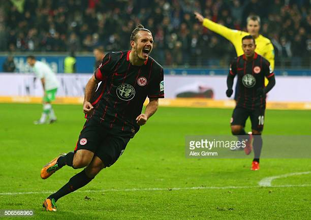 Alexander Meier of Eintracht Frankfurt celebrates as he scores their second goal during the Bundesliga match between Eintracht Frankfurt and VfL...