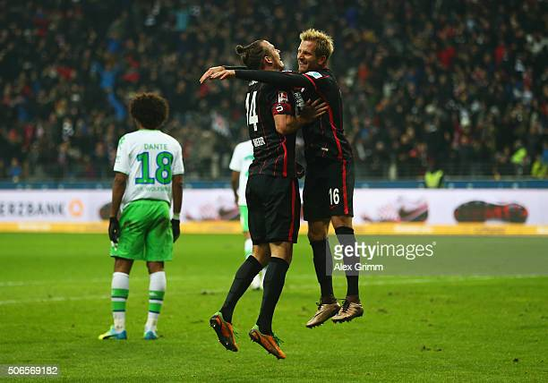 Alexander Meier of Eintracht Frankfurt celebrates with Stefan Aigner as he scores their second goal during the Bundesliga match between Eintracht...