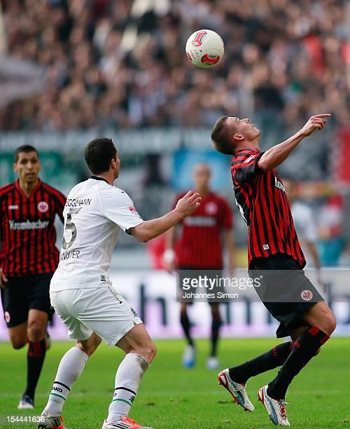 Alexander Meier of Frankfurt and Mario Eggimann of Hannover fight for the ball during the Bundesliga match between Eintracht Frankfurt and Hannover...